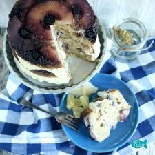 blueberry pineapple upside down cake with honey gouda cream recipe