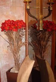Silk Amaryllis Flowers - artifical silk amaryllis flowers in a hand made euclayptus wood