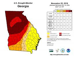 United States Drought Map by Water At Uga November 22 2016 Drought Monitor Update