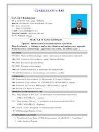Resume Francais Model De Curriculum Vitae Algerie Resume Template