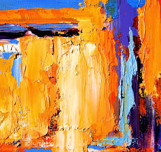 vibrant abstract oil painting with thick paint by theresa paden