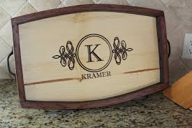 monogrammed tray personalized wine barrel stave serving tray housewarming gift