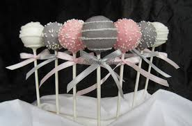 pink and gray baby shower favors baby shower cake pops