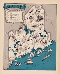 Map Of Portland Maine Rare Maine Map Funky 1930s Original Map Of Maine Whimsical Map Blu