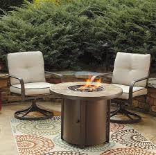 Patio Furniture With Fire Pit Set - 3 piece round fire pit table set w swivel lounge chairs by