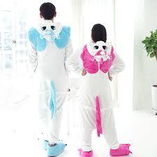 Womens Unicorn Halloween Costume Blue Pink Winter Kawaii Anime Hoodie Pyjamas Cosplay Costume