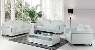 Genuine Leather Sofa And Loveseat Casa Huron Modern White Leather Sofa Set