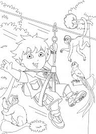 go diego coloring pages for kids with animals printable free