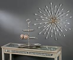 Home Decoration Accessories Wall Art Furniture Gorgeous Starburst Wall Decor On Grey Wall Pus Table