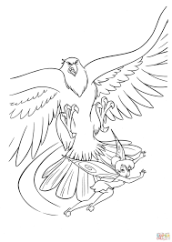 hawk and fairy coloring page free printable coloring pages