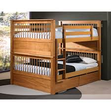 Hardwood Bunk Bed Brown Wooden Bunk Bed With Brown Wooden Ladder And Storage On