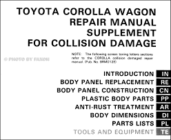 1988 1992 toyota corolla wagon body collision manual supplement