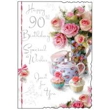 birthday cards happy 90th birthday card special wishes just for you roses and