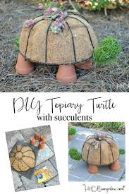 how to make a diy turtle topiary diy garden decor dollar stores