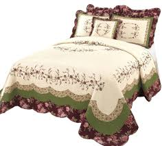 beautiful white green burgundy cabin floral quilt bedspread xl