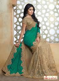 engagement sarees net sea green resham work designer saree