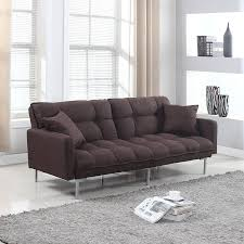 Plush Sofa Bed Modern Plush Tufted Linen Fabric Sleeper Futon