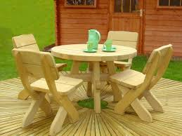 Outside Table And Chair Sets Round Wooden Outdoor Table And Chairs Starrkingschool