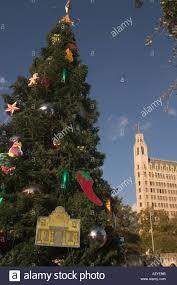 large christmas tree in alamo plaza in downtown san antonio texas