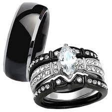 black wedding ring set black wedding band sets ebay