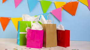 present bags gift bags at the kids birthday party on the table stock footage