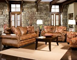 Furniture  Comfortable Family Room With Wooden Table And Brown - Comfortable family room