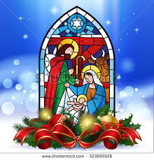 Stained Glass Christmas Window Decorations by Stained Glass Window Depicting Christmas Scene Stock Vector