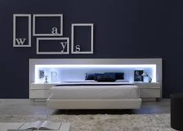 Led Bed Frame White Lacquer Headboard With Upholstered Bed Frame Blue Led Bed