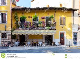 Beautiful Balcony Verona Italy September 08 2016 Small Cafe In Old Two Storey