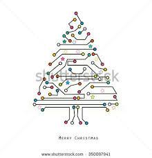 vector tree digital electronic circuit stock vector
