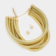 bib necklace gold images 12 quot gold 5 row metallic coil choker collar bib necklace 35 jpg