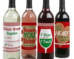Wine Christmas Gifts Teacher Wine Label Etsy