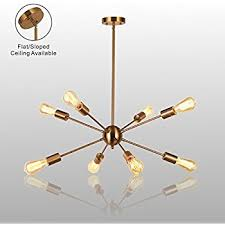 Sputnik Ceiling Light 8 Light Sputnik Chandelier Brushed Brass Semi Flush Mount Ceiling