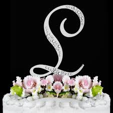 l cake topper l sparkle silver wf monogram wedding cake toppers