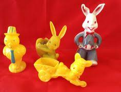 Vintage Plastic Easter Decorations by Vintage Plastic Easter Bunny Rabbit E Rosen Rosbro Pull Toy 1950s
