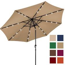 Patio Umbrella With Solar Led Lights by Bcp 10ft Deluxe Patio Umbrella W Solar Led Lights Tilt