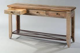 Sofa Table With Drawers Hoot Judkins Pine Rustic Sofa Table Drawers And Iron Mesh Shelf