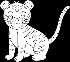 cute colorable tiger free clip art