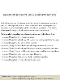 Resume For Teller Top 8 Teller Operations Specialist Resume Samples 1 638 Jpg Cb U003d1432856365