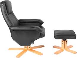 Luxury Swivel Chair premier recliner swivel chair with footstool in black faux leather
