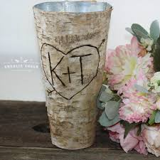 rustic personalized birch vase wedding gift wedding decor home