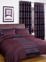 Plum Bedding And Curtain Sets Dark Purple With Striped Pattern Accent New York Duvet Cover Set