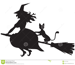 witch on a broom and cat royalty free stock photos image 33737548