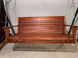 mahogany wood porch swing with chain kit hand rub oil finish take