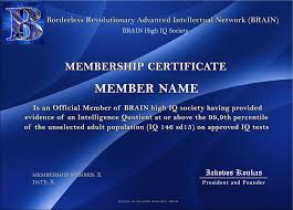 borderless certificate templates brain high iq society certificates 1 6