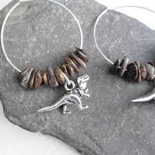 real earrings dinosaur hoop earrings t rex brontosaurus real fossil bone