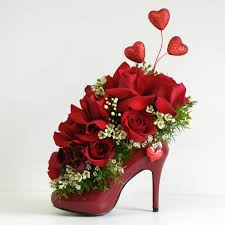 Valentines Day Flowers Shoe Flower Arrangement Very Cute For A
