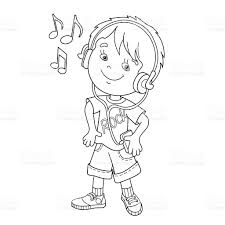 coloring page outline of boy in headphones listening to music