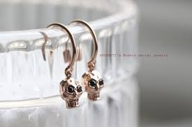 s hypoallergenic earrings delicate 14k gold tiny skull earrings back earrings for