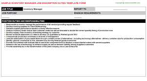 Purchase Resume Sample by Download Inventory Manager Job Description Haadyaooverbayresort Com
